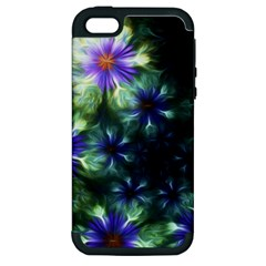 Fractal Painting Blue Floral Apple Iphone 5 Hardshell Case (pc+silicone)