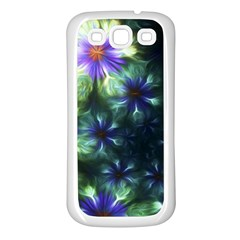 Fractal Painting Blue Floral Samsung Galaxy S3 Back Case (white)