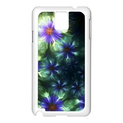 Fractal Painting Blue Floral Samsung Galaxy Note 3 N9005 Case (white)