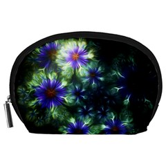 Fractal Painting Blue Floral Accessory Pouches (large)