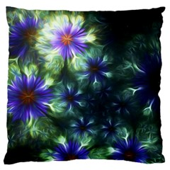 Fractal Painting Blue Floral Large Flano Cushion Case (two Sides)