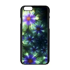 Fractal Painting Blue Floral Apple Iphone 6/6s Black Enamel Case
