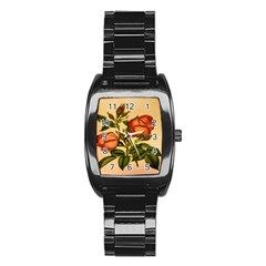 Vintage Flowers Floral Stainless Steel Barrel Watch