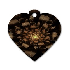 Fractal Flower Floral Bloom Brown Dog Tag Heart (one Side)