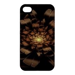 Fractal Flower Floral Bloom Brown Apple Iphone 4/4s Hardshell Case