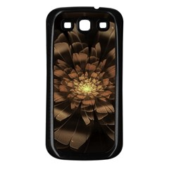 Fractal Flower Floral Bloom Brown Samsung Galaxy S3 Back Case (black)