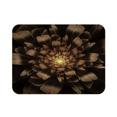 Fractal Flower Floral Bloom Brown Double Sided Flano Blanket (mini)