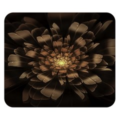 Fractal Flower Floral Bloom Brown Double Sided Flano Blanket (small)