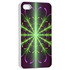Fractal Purple Lime Pattern Apple Iphone 4/4s Seamless Case (white)