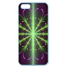 Fractal Purple Lime Pattern Apple Seamless Iphone 5 Case (color)