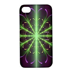Fractal Purple Lime Pattern Apple Iphone 4/4s Hardshell Case With Stand