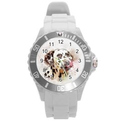 Dog Portrait Pet Art Abstract Round Plastic Sport Watch (l)