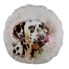 Dog Portrait Pet Art Abstract Large 18  Premium Flano Round Cushions