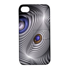 Fractal Silver Warp Pattern Apple Iphone 4/4s Hardshell Case With Stand