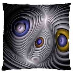 Fractal Silver Warp Pattern Large Flano Cushion Case (two Sides)