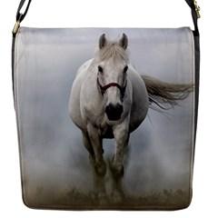 Horse Mammal White Horse Animal Flap Messenger Bag (s)