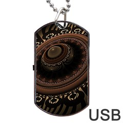Fractal Stripes Abstract Pattern Dog Tag Usb Flash (one Side)