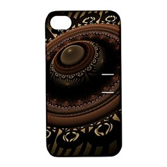 Fractal Stripes Abstract Pattern Apple Iphone 4/4s Hardshell Case With Stand