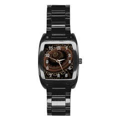 Fractal Stripes Abstract Pattern Stainless Steel Barrel Watch