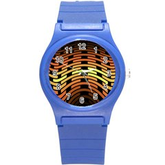 Fractal Orange Texture Waves Round Plastic Sport Watch (s)