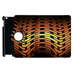 Fractal Orange Texture Waves Apple Ipad 2 Flip 360 Case