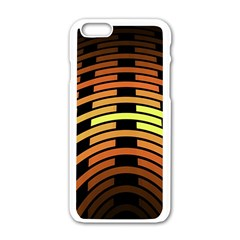 Fractal Orange Texture Waves Apple Iphone 6/6s White Enamel Case