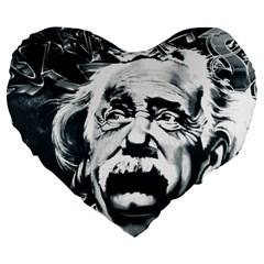 Einstein Albert Einstein Street Art Large 19  Premium Heart Shape Cushions