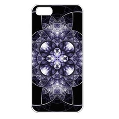 Fractal Blue Denim Stained Glass Apple Iphone 5 Seamless Case (white)