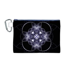 Fractal Blue Denim Stained Glass Canvas Cosmetic Bag (m)
