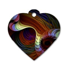 Fractal Colorful Rainbow Flowing Dog Tag Heart (one Side)