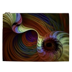 Fractal Colorful Rainbow Flowing Cosmetic Bag (xxl)