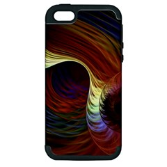 Fractal Colorful Rainbow Flowing Apple Iphone 5 Hardshell Case (pc+silicone)