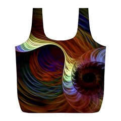 Fractal Colorful Rainbow Flowing Full Print Recycle Bags (l)