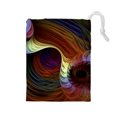 Fractal Colorful Rainbow Flowing Drawstring Pouches (large)