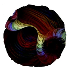 Fractal Colorful Rainbow Flowing Large 18  Premium Flano Round Cushions