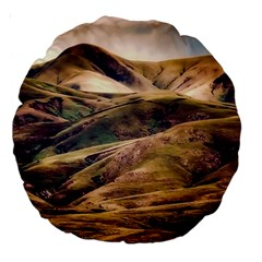 Iceland Mountains Sky Clouds Large 18  Premium Round Cushions