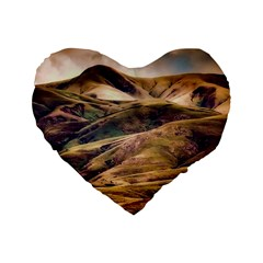 Iceland Mountains Sky Clouds Standard 16  Premium Flano Heart Shape Cushions