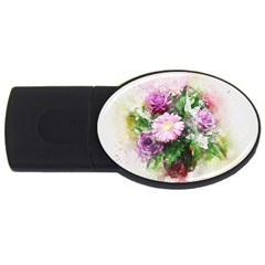 Flowers Roses Bouquet Art Nature Usb Flash Drive Oval (2 Gb)