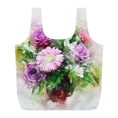 Flowers Roses Bouquet Art Nature Full Print Recycle Bags (l)
