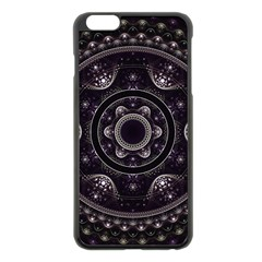 Fractal Mandala Circles Purple Apple Iphone 6 Plus/6s Plus Black Enamel Case