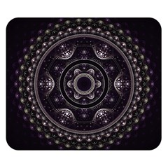 Fractal Mandala Circles Purple Double Sided Flano Blanket (small)