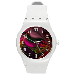 Fractal Abstract Colorful Floral Round Plastic Sport Watch (m)