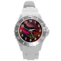 Fractal Abstract Colorful Floral Round Plastic Sport Watch (l)