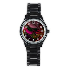 Fractal Abstract Colorful Floral Stainless Steel Round Watch
