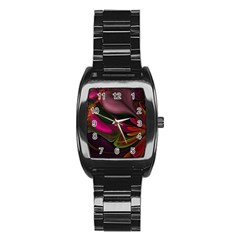 Fractal Abstract Colorful Floral Stainless Steel Barrel Watch