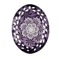 Fractal Floral Striped Lavender Oval Filigree Ornament (two Sides)