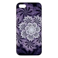 Fractal Floral Striped Lavender Apple Iphone 5 Premium Hardshell Case
