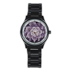 Fractal Floral Striped Lavender Stainless Steel Round Watch