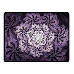 Fractal Floral Striped Lavender Double Sided Fleece Blanket (small)