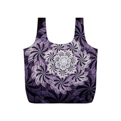 Fractal Floral Striped Lavender Full Print Recycle Bags (s)
